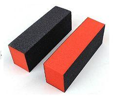 Ewin 2 PCS Orange Black Nail Art Tips Acrylic Buffer Block Files Manicure Sanding Tool * Click image to review more details.