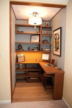 office in a walk in closet