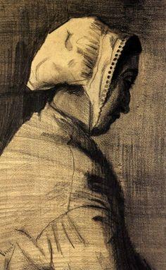 Head of a Woman - Vincent van Gogh . Created in The Hague in December - January , 1882 - Located at Van Gogh Museum Theo Van Gogh, Vincent Van Gogh, Van Gogh Drawings, Van Gogh Paintings, Paul Gauguin, Monet, Renoir, Desenhos Van Gogh, Van Gogh Arte