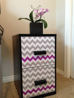 No Paint, No Stencil Filing Cabinet Makeover
