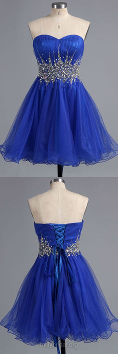 Royal Blue Homecoming Dresses,Famous A-line Short Prom Dresses,Sweetheart Tulle Cocktail Dress,Short/Mini Crystal Detailing Formal Party Gowns