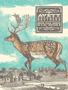 Avett Brothers  : status serigraph