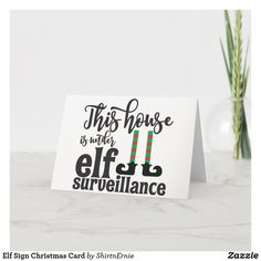 Elf Sign Christmas Card Christmas Greetings, Christmas Cards, Party Hats, Elf, Kids Shop, Place Card Holders, Signs, Christmas Greetings Cards, Xmas Cards