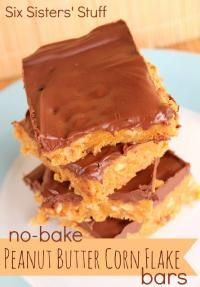 No-Bake Peanut Butter Corn Flake Bars Recipe from the Six Sisters on MyRecipeMagic.com are  an easy no-bake treat! #peanutbutter #cornflake #nobake