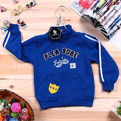 Korean Style Zipper Embellished Coat Sapphire Blue