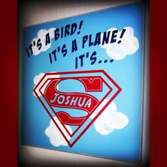 Custom Superman wood sign 11x11 $22. Perfect little touch for a Superman themed room or baby shower!