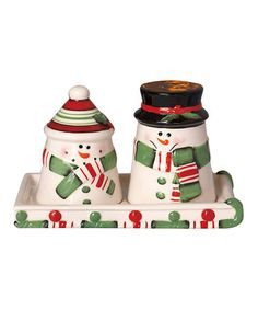 Take a look at this Snowman Salt & Pepper Shakers & Tray by Transpac Imports on #zulily today!