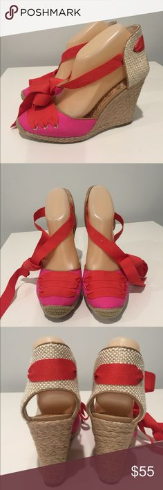Ann Taylor Loft Pink Fabric Lace Up Wedges Super fun summery Wedges from Ann Taylor. Good condition. Offers welcomed. 1129 Ann Taylor Shoes Wedges