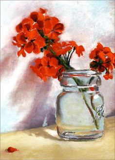 geraniums in glass  jar