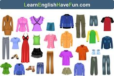 Learn clothing vocabulary in English by looking at pictures and hearing the words prononunced in the video. Practice what you learn with short exercises.