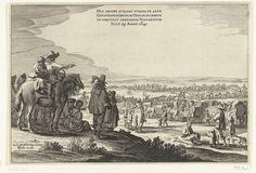 Pieter Nolpe   Vertrek van het Spaanse garnizoen uit Huis te Gennep (blad 1), 1641, Pieter Nolpe, Claes Jansz. Visscher (II), 1641   Vertrek van het Spaanse garnizoen uit Huis te Gennep op 29 juli 1641, na het beleg en de verovering van het Huis te Gennep door het Staatse leger onder Frederik Hendrik, 6 juni - 27 juli 1641. Blad nr. 1 in de grote voorstelling van de uittocht van de Spaanse troepen in 4 bladen. Toeschouwers kijken naar de stoet van wagens en kanonnen. Bovenaan een opschrift…