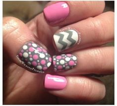 Pink & Gray Inspiration!  #bellashoot #Nailart #Zigzag #polkdots #pink nails #nails