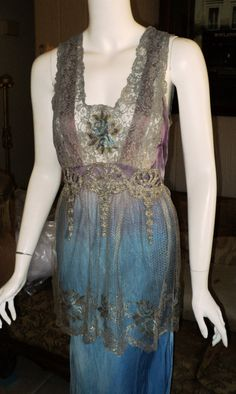 """Newly Listed """"Bellasoiree Original"""" Edwardian Style Gown Dress Metallic Tulle Lame Lace """"Lavender Wysteria"""" ON Reserve DNP"""