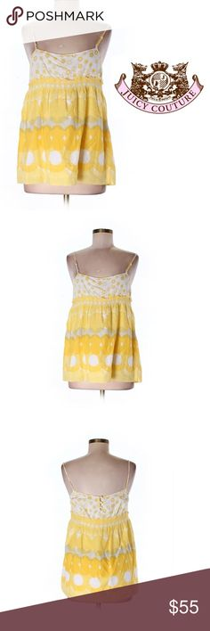 """Juicy Couture Yellow Polka Dot Floral Top NWT New with tags. Long spaghetti strap tank top summer blouse with buttons up back. Polka dot floral print. 100% cotton. Size 8. 32"""" bust 28"""" length. Empire waist style. Save the most with bundling. I offer 25% off all bundles of 2 or more items. No trades or holds. I only do business on poshmark no other sites. I accept reasonable offers. Juicy Couture Tops Blouses"""