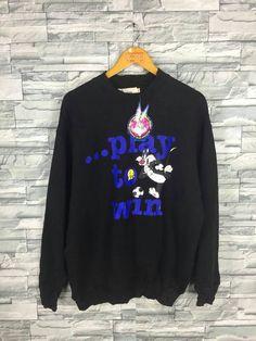 25d95bfdb30e0a LOONEY TUNES Jumper Large Vintage 90 s Tweety Bugs Bunny Funny Cartoon  Warner Bros Nba Space Jam Black Sweatshirt Sweater Size L