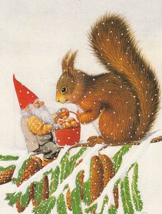 Eva Dahlberg - Gnome gift to Squirrel Swedish Christmas, Christmas Gnome, Scandinavian Christmas, Christmas Art, Vintage Christmas, Christmas Illustration, Children's Book Illustration, Les Moomins, Elves And Fairies