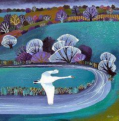 Birds, Carry Akroyd And More Birds. Landscape Quilts, Landscape Art, Naive Art, Retro Art, Illustrations And Posters, Print Artist, Bird Art, Art Techniques, Art World