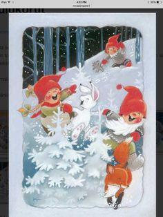Kaarina Tolvanen Scandinavian Kids, All Holidays, Decoupage Paper, Christmas Pictures, Yule, Elves, Gnomes, Paper Dolls, Illustration Art