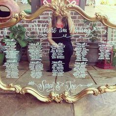 50 Ideas For Mirror Seating Chart Wedding Diy Place Cards Mirror Seating Chart, Table Seating Chart, Wedding Table Seating, Wedding Places, Wedding Place Cards, Tableau Marriage, Diy Wedding, Dream Wedding, Wedding Ideas