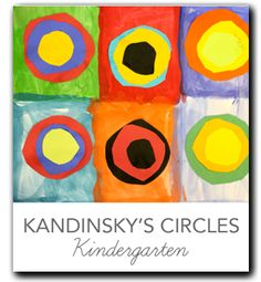 Video and lesson plan that shows kids how to paint, cut and select colors inspired by Kandinsky's concentric circles.