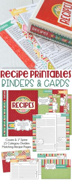 Recipe Printables, printable recipe cards, printable recipe binder pages - full size binder, half size binder and cards - and Such a cute design. To Do List Printable, Printable Recipe Cards, Printable Planner, Recipe Printables, Free Printables, Recipe Book Templates, Album Scrapbook, Recipe Scrapbook, Binder Organization