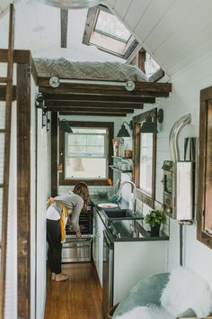 A custom tiny house on wheels in Oregon City, Oregon. Shared and built Heirloom Custom Tiny Homes. A seriously-nice tiny house built with Small Luxury Homes, Tiny House Luxury, Tiny House Swoon, Tiny House Living, Tiny House Design, Tiny House On Wheels, Small Homes, Tiny House Movement, Tiny Spaces