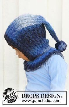 "Winter jolly / DROPS children - free knitting patterns by DROPS design DROPS hat with pompom in ""Delight"". Size 3 to 12 years. ~ DROPS Design (Why only until 12 . I& freezing too! Baby Knitting Patterns, Knitting Blogs, Knitting Designs, Baby Patterns, Cowl Patterns, Knitted Hats Kids, Crochet Baby Hats, Knitting For Kids, Knitting For Beginners"