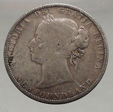 1872 NEWFOUNDLAND Canada 1872 Silver 50 Cents Antique Coin QUEEN VICTORIA i56685