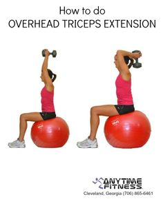 Here's an illustration of how to do overhead triceps extensions.