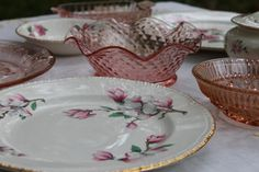 """Pretty pretty pink china and glassware for shabby chic wedding reception- Homer Laughlin h66n6 Cherry blossom 9.25"""" dinner plate only 1 available"""
