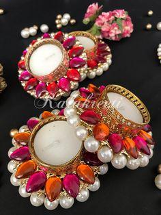 Diya Decoration Ideas, Diy Diwali Decorations, Flower Decorations, Diwali Diya, Diwali Craft, Desi Wedding Decor, Indian Wedding Decorations, Candle Stand, Candle Holders