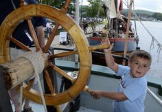 Anthony DiSisto, of Waterford, tries to steer the Lois McClure schooner during the first day of the Annual Steamboat Meet held at the Waterford Harbor Visitors Center Saturday. (Mike McMahon / The Record) Morning Sky, Steamboats, Water Crafts, Meet, Handmade Crafts