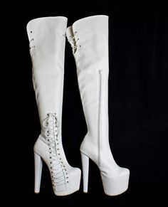 7e067b32f66b White Corset Over Knee Boots – Tajna Club White Ankle Boots