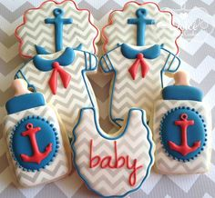nautical baby shower cookies
