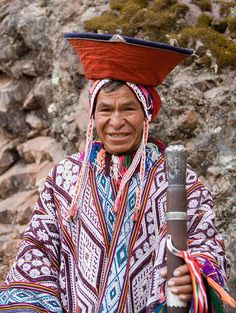 Andean man in traditional attire from Pisac. Peru.