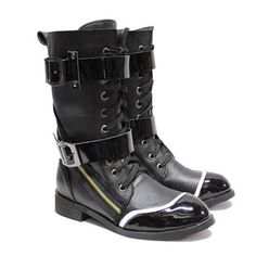 Hot Men Black Patent Leather Lace Up Knee High Gothic Punk Boots Sale SKU-1280410
