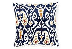 Loving Ikat right now.  This navy blue pillow has a hint of orange which would really compliment the colors in my living room.