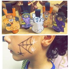 Actividad Halloween peques de primaria. Cajitas de golosinas y maquillaje.