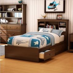 South Shore Nathan Kids Twin Mates Storage Bed Frame Only in Cherry Finish
