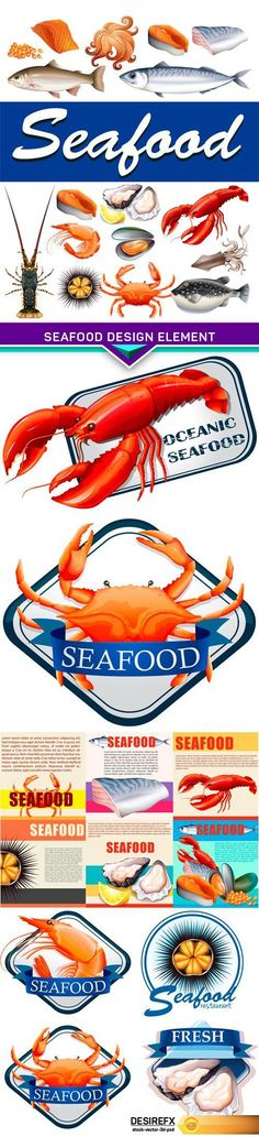 Find your Grapfix Desire With US http://www.desirefx.me/seafood-design-element-5x-eps/