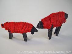 Schapen (wol, wasknijper, karton) simpel en zo voorhanden tijdens de knutselmiddag :-)