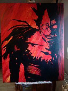 Ryuk na płótnie, Akrylowa farba. Nieoczywista czerń wpadająca w zieleń. Ogniste tło. Moose Art, Painting, Animals, Animales, Animaux, Painting Art, Paintings, Animal, Animais