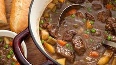 Easy Beef Stew by Chow. This easy beef stew recipe is a classic slow-cooked dish with chuck roast, carrots, celery, and potatoes simmered in a rich red-wine sauce. I used sirloin steak, sweet potatoes and threw in some corn as well. Everyone loved it. Beef Recipes, Cooking Recipes, Easy Recipes, Soup Recipes, Casserole Recipes, Recipies, Broccoli Casserole, Popular Recipes, Cooking Ideas
