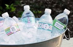 Template to make your own water bottle labels http://ruffledblog.com/entry-25-diy-water-bottle-labels/