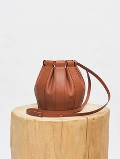 Leather Drawstring Small Bag - Brown