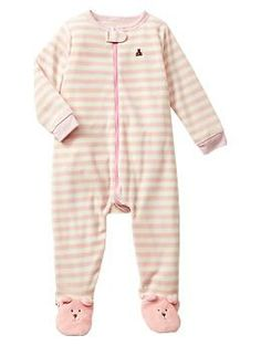 Striped bear footed sleep one-piece / GAP