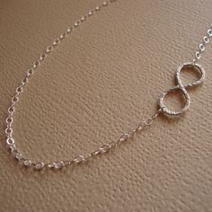 Infinity Asymmetrical Necklace SOLID Sterling Silver by lizix26, $25.00