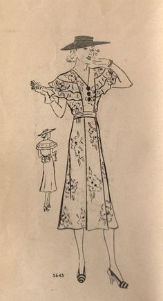 1930s Mail Order 3643 Misses Fancy Dress Pattern Ruffle Cape Collar Flared Dress womens vintage sewing pattern  by mbchills, $45.00
