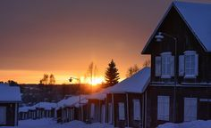 Sunset in Church Town Gammelstad Sweden by Helen Lundberg Photography