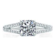 Square Radiant Cut Diamond with Diamonds Split Shank
